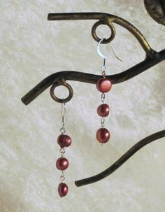 Red Pearl Earrings by GeekGirlChic for $8.00