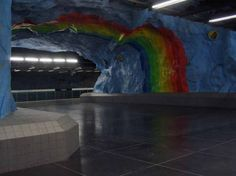 Finally there is a place where you can walk under the rainbow! The Stockholm County Metro Subway in Sweden is quite an architectural marvel