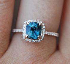 Blue Green sapphire engagement ring. Peacock sapphire 1.84ct cushion halo diamond  ring 14k Rose gold.