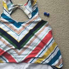 Anthropologie Striped Halter Tank Deletta striped tank with keyhole opening in the back. Anthropologie Tops Tank Tops