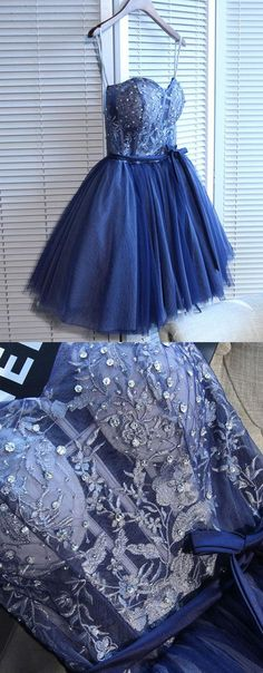 Modern A Line Strapless Lace Up Short Dark Blue Tulle Homecoming Dress with Beaded Lace,H651