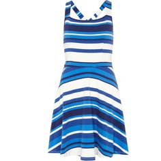 Dorothy Perkins Stripe Cross Back Sundress (480 UYU) ❤ liked on Polyvore fe2764205ee