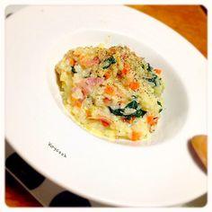 寒くなってきて、こういうのが食べたくなりますねぇ...って、私の場合は年中か - 24件のもぐもぐ - ベーコンと野菜の豆乳リゾット by Kaycook