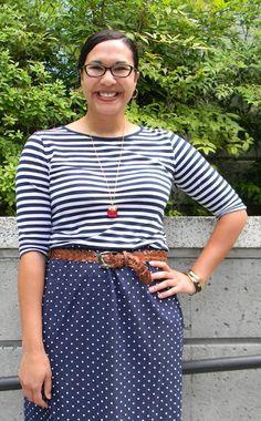navy & white polka dot skirt, navy & white striped tee, braided belt & apple pendant