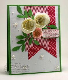 The Stampin' Schach: Spiral Flowers for Christmas - SU Occasions Catalog 2014 stuff Create Christmas Cards, Christmas Paper Crafts, Christmas Flowers, Stampin Up Christmas, Xmas Cards, Handmade Christmas, Flower Cards, Paper Flowers, Scrapbooking