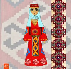 Armenian girl by Mos Atayan Armenian Culture, Cool Fonts, Botanical Art, Love Art, Costumes, Folk Costume, Vintage Art, Embroidery Patterns, Illustration