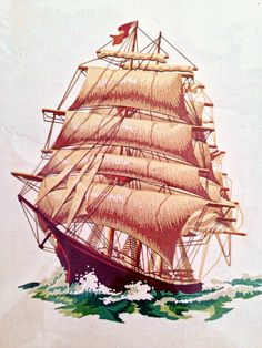 vintage sailing ship embroidery kit  by whitecottagesupplies, $20.00