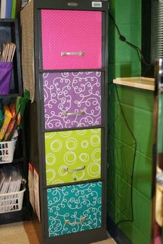 Mod podge wrapping paper to the front of your filing cabinets. | 36 Clever DIY Ways To Decorate Your Classroom