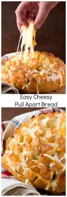 Easy Cheesy Pull Apart Bread - the easiest way to make savory pull apart bread! It's so fun to pull away chunks of bread with gooey cheese!