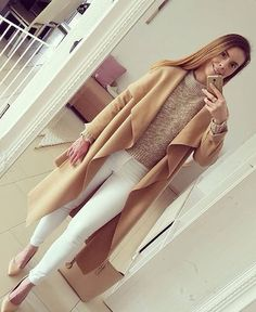 Strike a Pose // Amazing @onyx_iris is wearing camel draped open-front long coat from @lookbookstoreco #LBSDaily