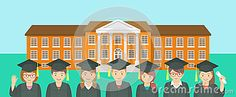 Vector flat horizontal illustration of group of kids in graduation gowns and caps opposite school building. Education conceptual background. Header banner design element