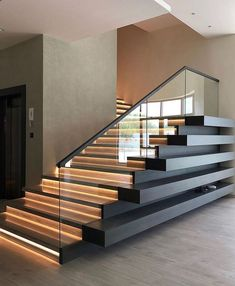 Any thoughts on this modern staircase? Design by Home Stairs Design, Dream Home Design, Modern House Design, Modern Interior Design, Modern Stairs Design, Staircase Interior Design, Stair Design, Simple Interior, Interior Livingroom