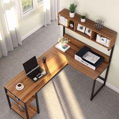 L-shaped desk with hutch corner computer shelf gaming writing table workstation storage bookshelves home office L Shaped Office Desk, L Shaped Desk, Home Office Setup, Home Office Desks, Office Ideas, Wood Office Desk, Office Workspace, Desk Ideas, Large Computer Desk