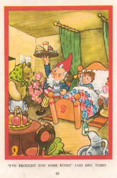 """""""I've brought you some roses, """" said Mrs. Tubby. Noddy books"""