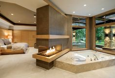 40 Lovely Jaccuzzis Ideas - When people refer to a hot tub or a spa, they often think of the word Jacuzzi. The terms are often used interchangeably but Jacuzzi is actually a bran. Luxury Bedroom Design, Master Bedroom Design, Bathroom Interior Design, Decor Interior Design, Master Suite, Design Interiors, Casa Park, Bathroom Fireplace, Master Bedroom Bathroom