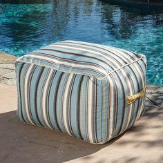 Peyton Outdoor Blue & Grey Striped Sunbrella Bean Bag