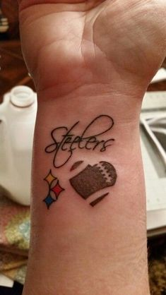 Go Steelers ♡ american football tattoo – American Football Pittsburgh Tattoo, Pittsburgh Skyline, Pittsburgh Steelers, Pittsburgh Penguins, Dallas Cowboys, Steelers Tattoos, Football Tattoo, Forearm Word Tattoo, Word Tattoos