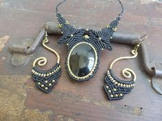 necklace and earrings macrame set