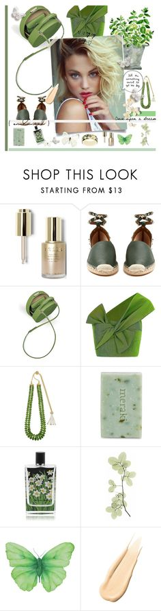 """Green and clean"" by alongcametwiggy ❤ liked on Polyvore featuring Stila, Valentino, WALL, BUwood, Maticevski, Louis Vuitton, Lagos, Meraki, Nest Fragrances and Hourglass Cosmetics"