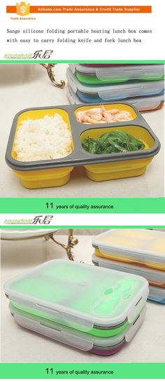 Sange silicone folding portable heating lunch box comes with easy to carry folding knife and fork lunch box
