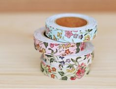 Cotton Fabric Wild Floral Deco Tape 15 mm by Cinderellagiftshop