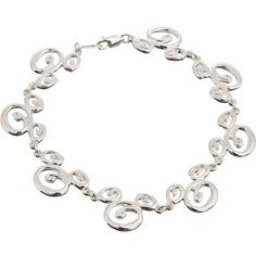 Sterling Silver Swirl Mickey Mouse Bracelet ($225) ❤ liked on Polyvore