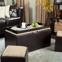Garrett Coffee Table Storage Ottoman With Tray & Side Ottomans