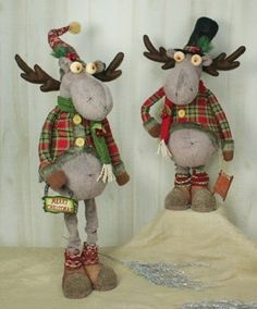 75027 holiday plaid jacket moose stretch leg christmas figure decoration lodge hannashandiworks - Christmas Moose Decorations