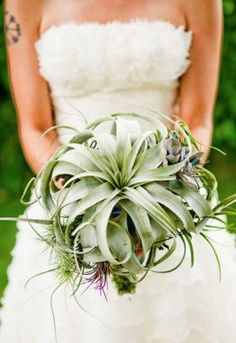 Large tillandsia wedding bouquet.
