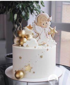 Baby Birthday Cakes, Beautiful Birthday Cakes, Cake Decorating Piping, Birthday Cake Decorating, Baby Christening Cakes, Girly Cakes, Friends Cake, Baby Girl Cakes, Holiday Cakes