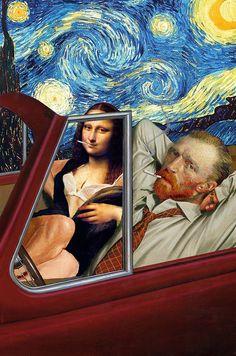 Vincent van Gogh und die Mona Lisa stehen sichsehr vielnäher, als wir bisher dachten. Sie quarzen gerne mal zusammen oder lassen es sich in der Bar gutgehen. Solche Szenerienzeigenuns jedenfallsdie Collagen vonBarry Kite.Der Künstler aus Florida sch