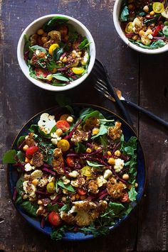 Power Salad witih Jalapeno Dressing by bakersroyale #Salad #Arugula #Cauliflower #Chickpeas #Beets #Tomatoes #Quinoa #Jalapeno