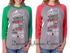 Reindeer List Women's Christmas Raglan Shirt Design. Merry Christmas Reindeer Names Red White Green. Santa's Reindeer. Ladies Holiday Shirt. by DesignsByJessicaK on Etsy