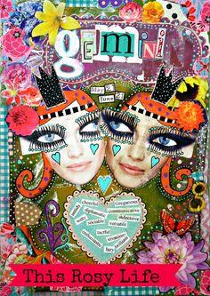 Astrology art Gemini print. zodiac art colorful by ThisRosyLife