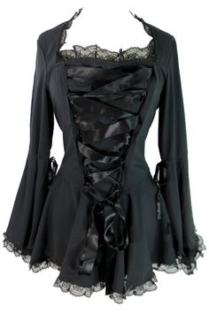 This gorgeous Victorian Steampunk design corset lace top has wide satin ribbon lacing on the front, the sleeves are double cuffed full angel sleeves with a small ribbon below the elbow on the upper fo