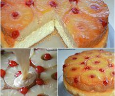 upside down cheesecake and cake dessert