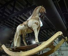 Antique Rocking Horse with Original Leather Saddle, Hide, and Mane