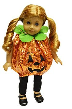 My Brittany's Sequin Pumpkin Halloween Costume For American Girl Dolls ...