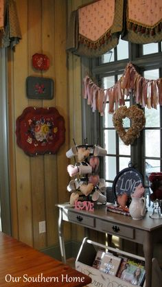 Valentine's Day Decor from Our Southern Home I like the fabric strip garland. Autumn would be good.
