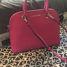 Micheal Kors Bag Fuschia leather satchel, brand new, with tags, comes with bag for storing your bag. Over shoulder straps removable. Michael Kors Bags Satchels