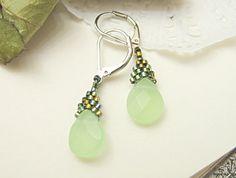 Green Briolette Earrings Beaded with Green Lake Stone OOAK Handmade by JeannieRichard