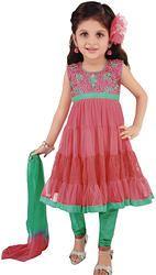 Baby's/Girl's Partywear Orange Netted Salwar Suit