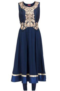 Navy blue anarkali set with daisy waistcoat available only at Pernia's Pop-Up Shop.