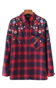 Trendy-Road-Style-Shop-Online-Woman-Fashion-Street-shirt-long-sleeve-plaid-embroidery-flowers