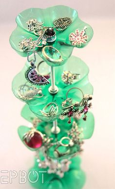 Jewelry stand made from the bottoms of mountain dew bottles