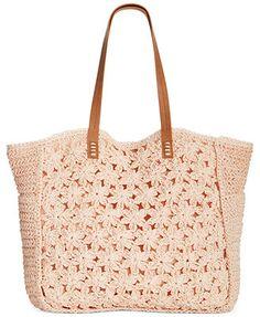 Straw Studios Flower Crochet Tote