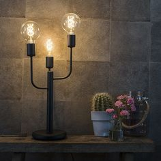 Modern table lamp black with 3 light sources – Facile Modern interior lighting Qazqa - Moyiki Sites Side Table Lamps, Black Table Lamps, Modern Art Deco, Interior Lighting, Candle Sconces, Led Lamp, Wall Lights, Home Decor, Design Minimalista