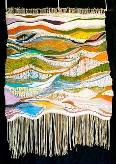 The very first weaving I ever created! Weaving Wall Hanging, Wall Hangings, Tapestry Loom, Weaving Looms, Textile Art, Tatting, Knitwear, Knit Crochet, Arts And Crafts
