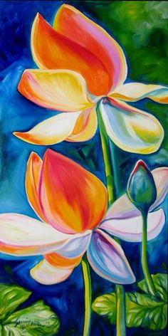 Lotus Painting - Lotus Blossoming by Marcia Baldwin Lotus Painting, Flower Painting Canvas, Canvas Art, Watercolor Paintings, Watercolor Flowers, Acrylic Flowers, Oil Pastel Art, Tropical Art, Flower Art