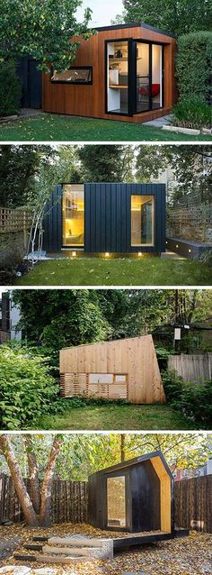 Here are 14 examples of modern backyard home offices, art studios, gyms, and hideouts that take backyard sheds to a whole new level. Backyard Office, Backyard Cabin, Shed Office, Office Home, Cabin Office, Modern Backyard, Outdoor Office, At Home Gym, Backyard Sheds